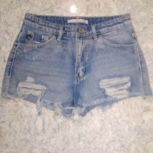 KanCan high rise distressed shorts